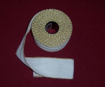 "14 count  x 50mm (2"") Zweigart  White  with Gold Edging Aida Band"